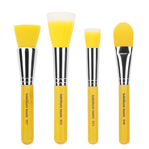 Yellow Bambu Foundation 4pc. Brush Set - Bdellium Tools