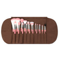Pink Bambu Deluxe 22pc. Brush Set with Roll-up Pouch - Bdellium Tools