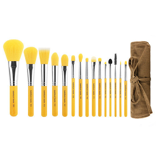 Yellow Bambu Complete 15pc. Brush Set with Roll-up Pouch - Bdellium Tools