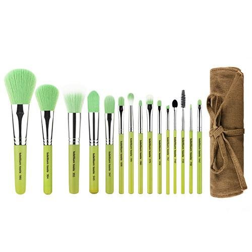 Green Bambu Complete 15pc. Brush Set with Roll-up Pouch - Bdellium Tools