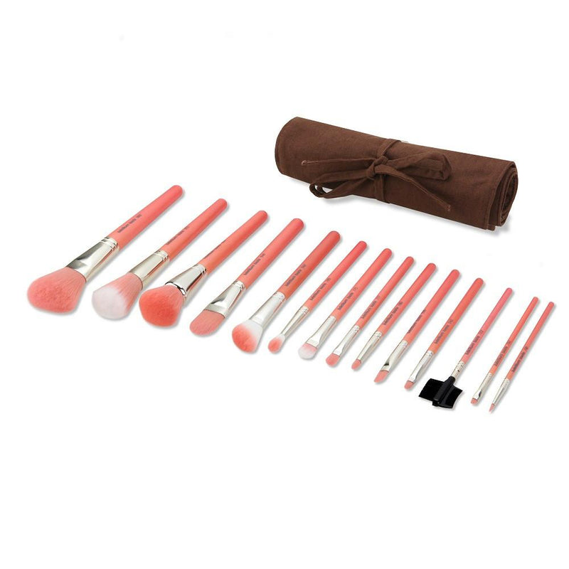 Pink Bambu Complete 14pc. Brush Set with Roll-up Pouch - Bdellium Tools