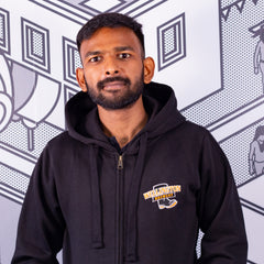 Black Wellington Zip-up hoodie