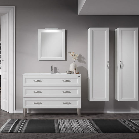 "28"" Single Vanity, Floor Mount, 3 Drawers with Soft Close, White Matt, Serie Class by VALENZUELA"