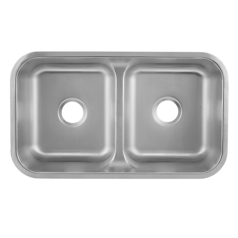 DAX 50/50 Double Bowl Undermount Kitchen Sink, 18 Gauge Stainless Steel, Brushed Finish , 32-1/4 x 18-7/8 x 9 Inches (DAX-3218)