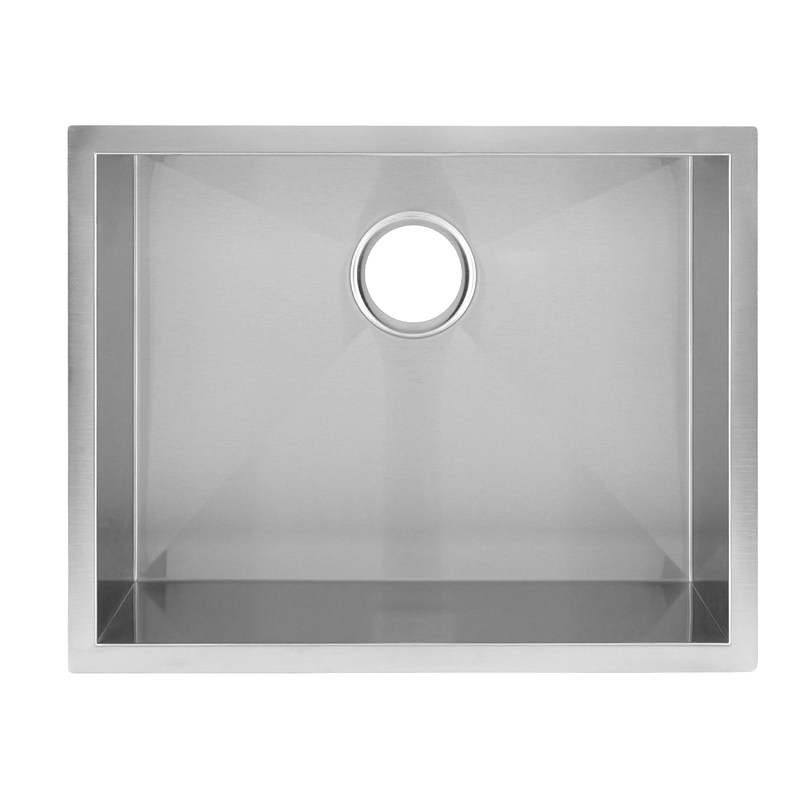 DAX Handmade Single Bowl Undermount Kitchen Sink, 16 Gauge Stainless Steel, Brushed Finish, 23 x 18 x 10 Inches (DAX-SQ-2318)