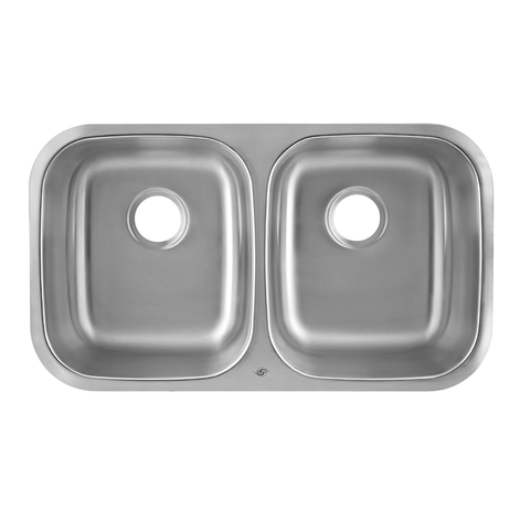 DAX 50/50 Double Bowl Undermount Kitchen Sink, 18 Gauge Stainless Steel, Brushed Finish , 32-1/4 x 18-1/2 x 9 Inches (DAX-3118)