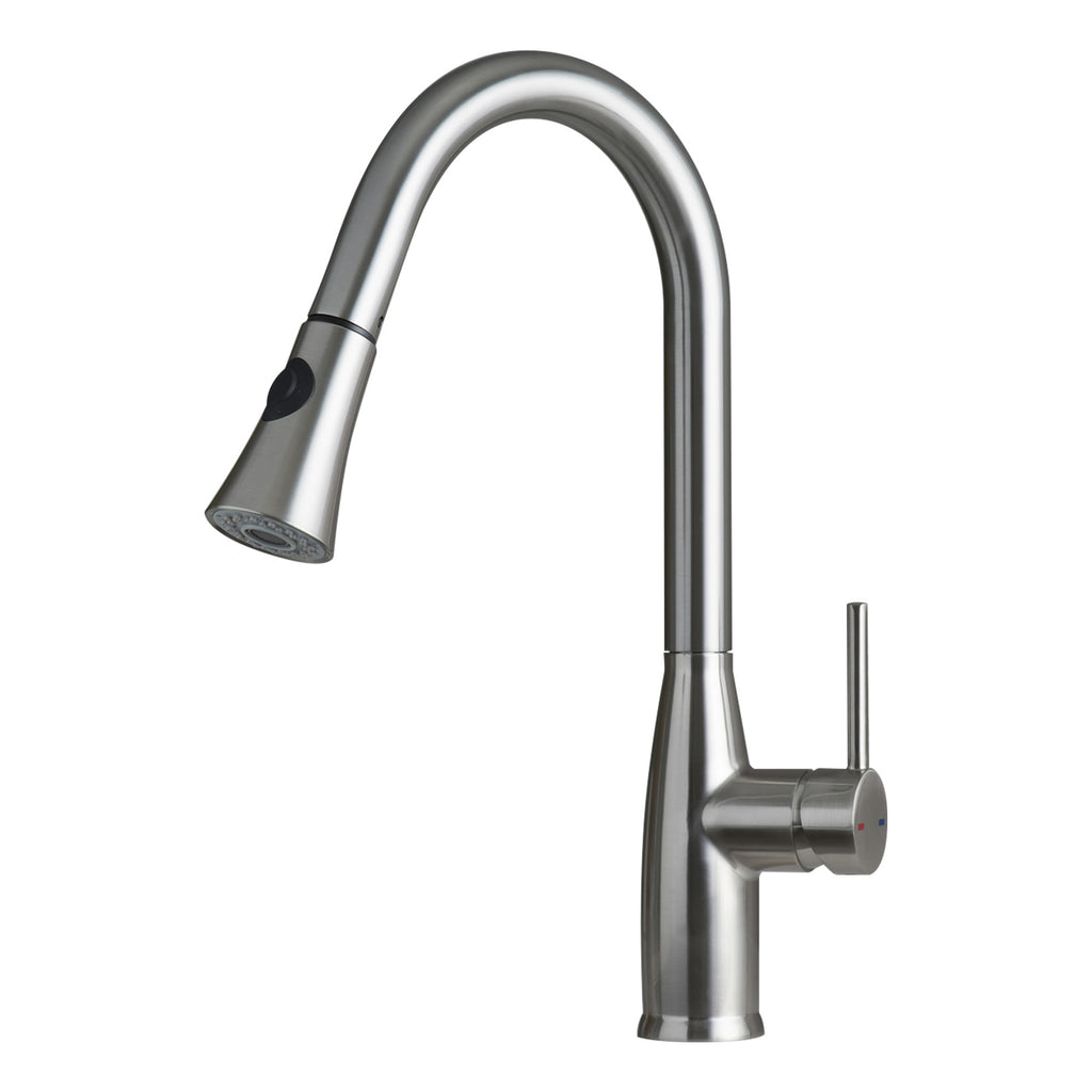 Dax Single Handle Pull Down Kitchen Faucet With Dual Sprayer Brass Bo
