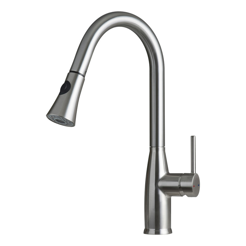 DAX Single Handle Pull Down Kitchen Faucet with Dual Sprayer, Brass Body, Brushed Nickel Finish, Size 11-7/16 x 17-1/2 Inches (DAX-8887)
