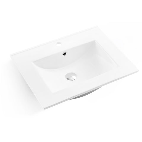 DAX Square Ceramic Single Bowl Top Mount Bathroom Sink, 24-3/8 x 18-9/16 x 6-3/8 Inches (BSN-660-E)