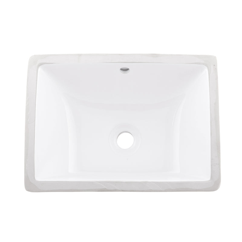 DAX Ceramic Square Single Bowl Undermount Bathroom Sink, White Finish, 18-1/2 x 13-3/4 x 7-1/2 Inches (BSN-202B-W)