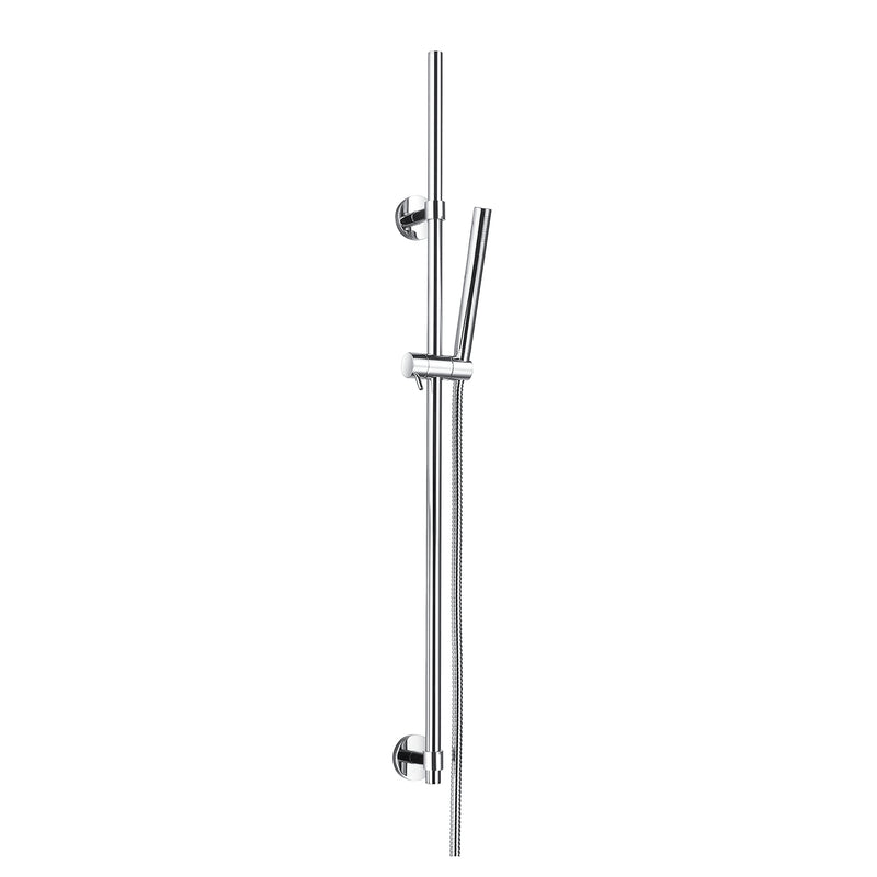 DAX Hand Shower Head with Round Adjustable Slide Bar, Stainless Steel Body, Chrome Finish, 23-5/8 x 2-3/8 Inches (DAX-9516)