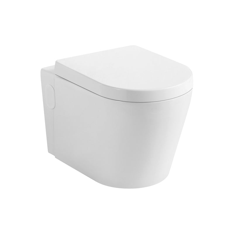 DAX One Piece Modern Oval Toilet, Wall Mount with Soft Closing Seat and Dual Flush High-Efficiency, Ceramic, White Gloss Finish, Height 12-3/5 Inches (BSN-CL11025)