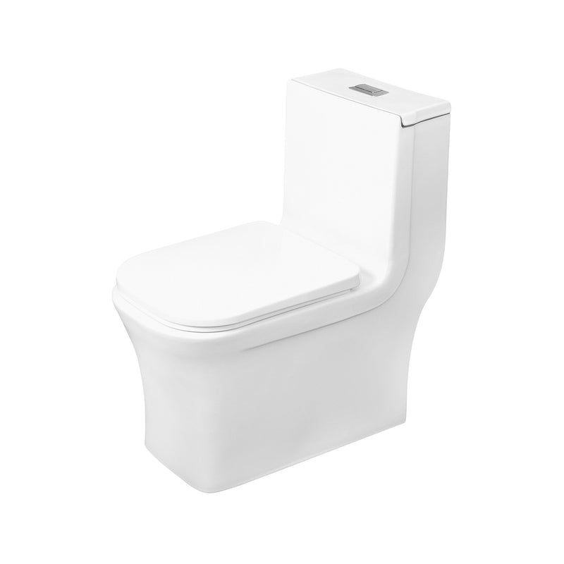DAX One Piece Square Toilet with Soft Closing Seat and Dual Flush High-Efficiency, Porcelain, White Finish, Height 28-3/4 Inches (BSN-835)