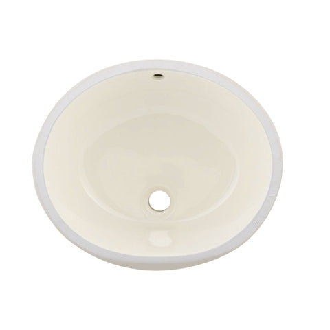 DAX Ceramic Oval Single Bowl Undermount Bathroom Sink, Ivory Finish, 19-1/2 x 16 x 8 Inches (BSN-201)