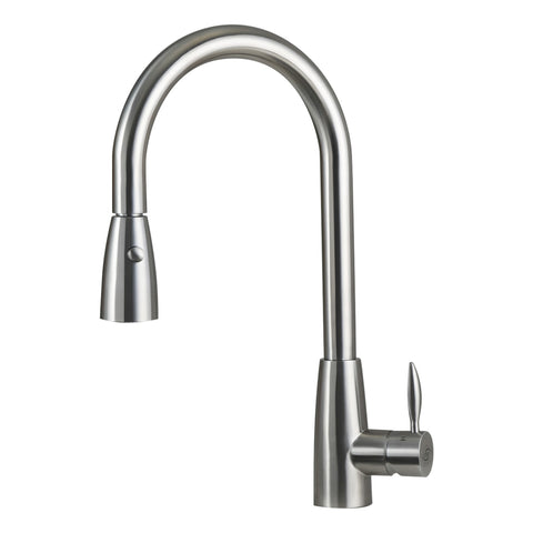 DAX Single Handle Pull Down Kitchen Faucet with Dual Sprayer, Stainless Steel Shower Head, Brushed Finish, Size 8-11/16 x 17-1/8 Inches (DAX-002-02B)