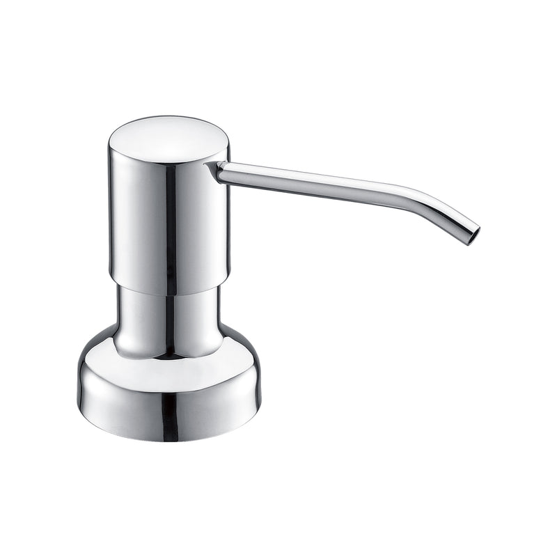 DAX Round Kitchen Sink Soap Dispenser, Deck Mount, Brass Body, Chrome Finish, 2-1/2 x 12-3/8 x 3-5/8 Inches (DAX-1002-CR)