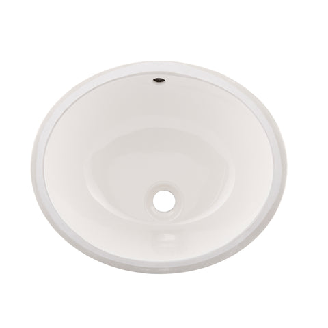 DAX Ceramic Oval Single Bowl Undermount Bathroom Sink, Ivory Finish,  18-1/4 x 15 x 7-1/2 Inches (BSN-101)