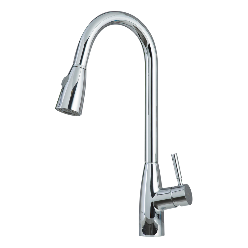 DAX Single Handle Pull Down Kitchen Faucet with Dual Sprayer, Brass Body, Chrome Finish, Size 8-1/4 x 10-1/4 Inches (DAX-8782)