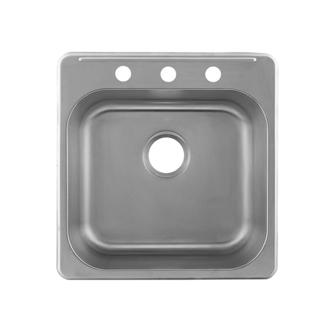 DAX  Single Bowl Top Mount Kitchen Sink, 20 Gauge Stainless Steel, Brushed Finish , 20 x 20-1/2 x 7 Inches (DAX-OM-2020)