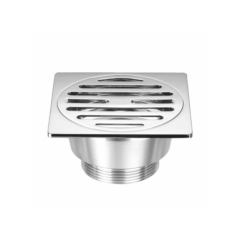 DAX Square Shower Floor Drain with Round Strainer, Brass Body, Chrome Finish, 3-15/16 x 3-15/16 x 2-3/16 Inches (DAX-3003-CR)