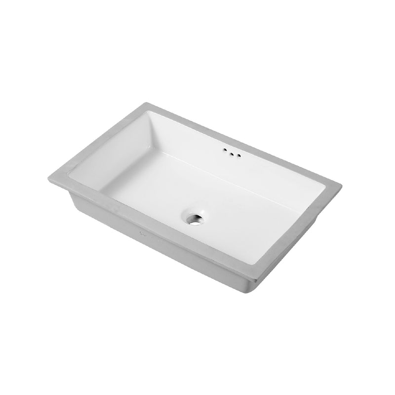 DAX Rectangle Single Bowl Undermount Bathroom Sink, Porcelain, White Finish,  28 x 13-5/16 x 6-3/8 Inches (BSN-2814)