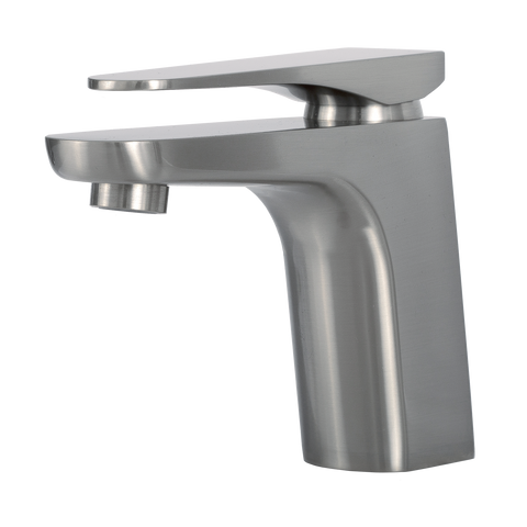 DAX Single Handle Bathroom Faucet, Brass Body, Brushed Finish, 6-7/8 x 5-5/16 Inches (DAX-805A-BN)