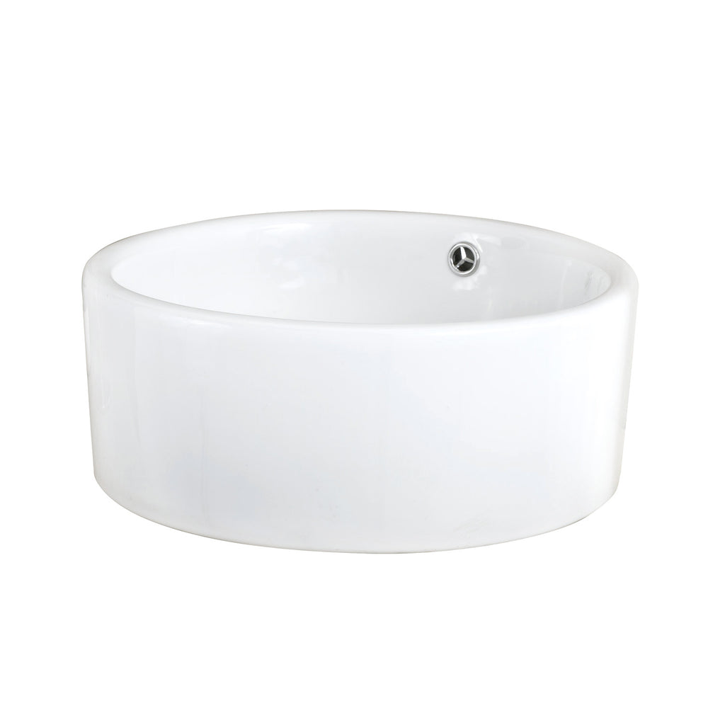 Dax Ceramic Round Single Bowl Bathroom Vessel Sink White