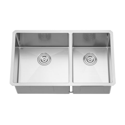 DAX Handmade 60/40 Double Bowl Undermount Kitchen Sink, 18 Gauge Stainless Steel, Brushed Finish, 32 x 19 x 10 Inches (DAX-3219LR10)