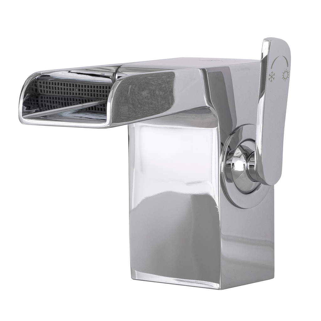 Image of: Dax Single Handle Waterfall Bathroom Faucet Brass Body Chrome Finish