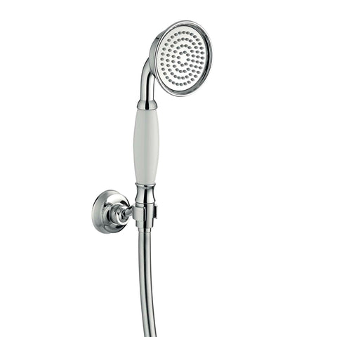 DAX Hand Shower Set, Wall Mount with Hose and Valve, Brass Body, Chrome Finish with White Handle, 59-1/16 Inches (DAX-2083A-CR)