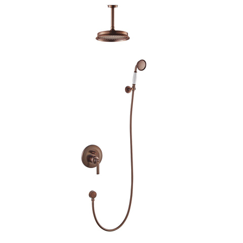 DAX Shower System, Round Rainfall Shower Head with Shower Trim Mixer and Hand Shower, Wall Mount, Brass Body, Oil Rubbed Bronze Finish with White Handle (DAX-8339-ORB)