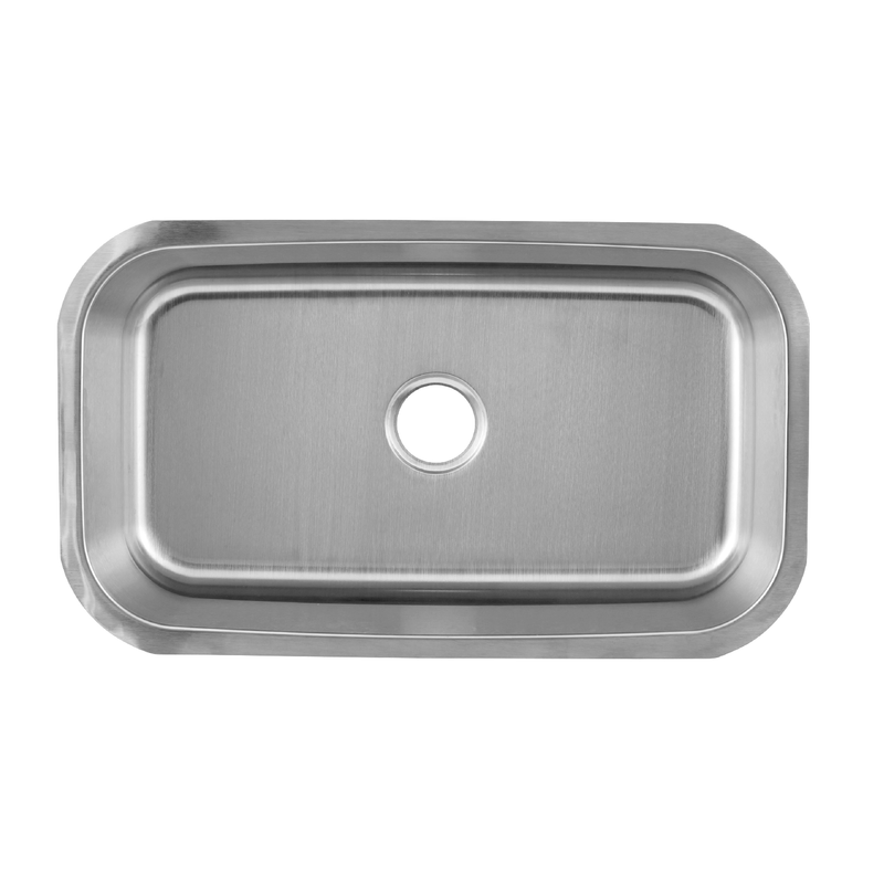 DAX Single Bowl Undermount Kitchen Sink, 18 Gauge Stainless Steel, Brushed Finish , 30 x 18 x 9 Inches (DAX-3018)