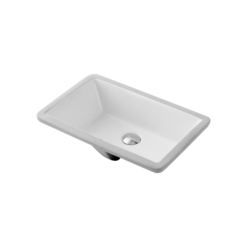 Dax Ceramic Rectangle Single Bowl Undermount Bathroom Sink White Fini