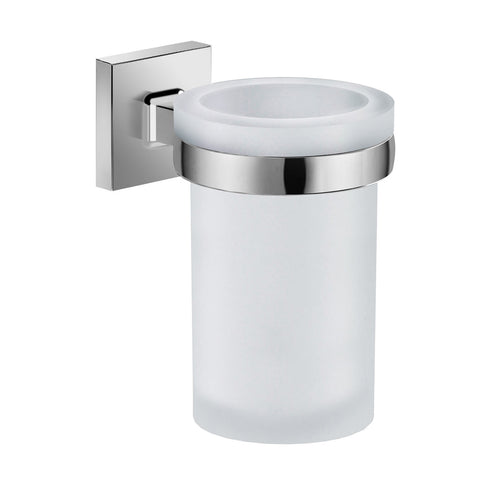 DAX Milano Bathroom Single Tumbler Toothbrush Holder, Wall Mount, Tempered Glass Cup, Brushed Finish, 2-15/16 x 4-3/4 x 4-5/16 Inches (DAX-GDC160152-BN)