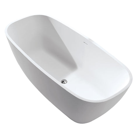 DAX Oval Freestanding Matte Solid Surface Bathtub with Central Drain and Overflow, Fiberglass Reinforcement, Full Immersion, Stainless Steel Frame, 67-4/5 x 29-1/4 x 21-5/8 Inches (BT-AB-B037)