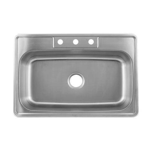 DAX  Single Bowl Top Mount Kitchen Sink, 20 Gauge Stainless Steel, Brushed Finish , 33 x 22 x 8-5/8 Inches (DAX-OM-3323)