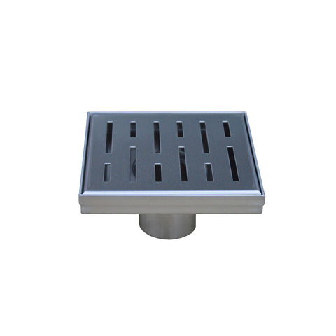 DAX Square Shower Floor Drain, Stainless Steel Body, Brushed Stainless Steel Finish, 4 x 4 Inches (ZS3S01BSS)