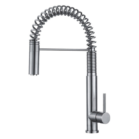 DAX Single Handle Pull Down Kitchen Faucet, Stainless Steel Shower Head and Body, Brushed Finish, Size 10-1/4 x 19-3/4 Inches (DAX-2141)