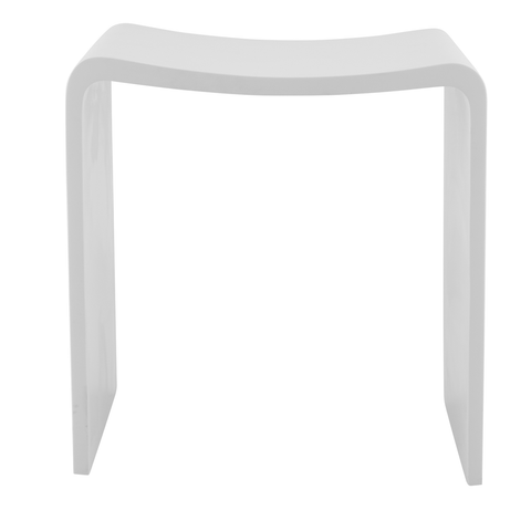 DAX Solid Surface Shower Stool, Standfree, Matte White Finish, 15-3/4 x 17-1/8 x 11-13/16 Inches (DAX-ST-02)