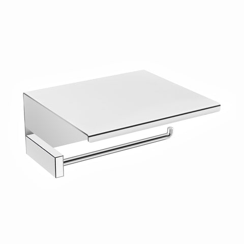 DAX Venice Toilet Paper Holder with Shelf for Mobile, Brass Body, Chrome Finish, 5-1/4 x 4-3/4 x 2-7/16 Inches (DAX-GDC060159-CR)