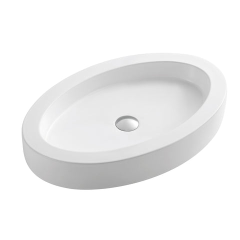 DAX Ceramic Oval Single Bowl Bathroom Vessel Sink, White Finish, 25 x 3-15/16 x 16-5/16 Inches (BSN-CL1219)