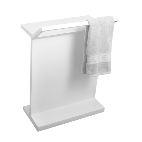 DAX Solid Surface Standing Towel Rack, White, 19-3/4 x 27-1/5 x 12-1/5 Inches (DAX-AB-7461)