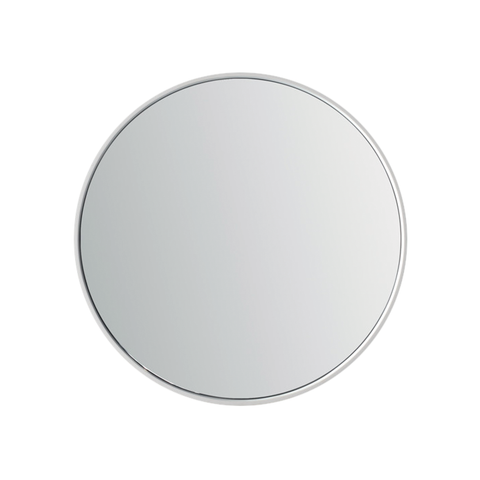 DAX Solid Surface Round Bathroom Vanity Mirror, Wall Mount with Frame, White Finish, 27-1/2 Inches (DAX-AB-1571)