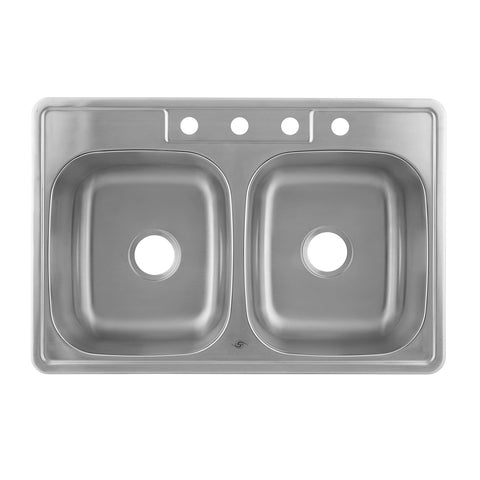 DAX 50/50 Double Bowl Top Mount Kitchen Sink, 18 Gauge Stainless Steel, Brushed Finish , 33 x 22 x 9 Inches (DAX-OM-3322)