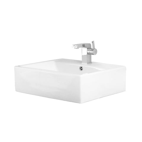 DAX Ceramic Rectangle Single Bowl Bathroom Vessel Sink, White Finish, 20-1/8 x 17-1/4 x 6 Inches (BSN-241)