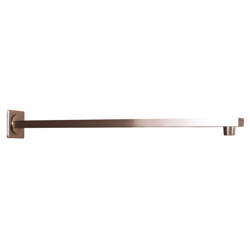 DAX Square Shower Arm, Spout, Brass Body, Wall Mount, Brushed Nickel Finish, 18 Inches (D-F20-18-BN)