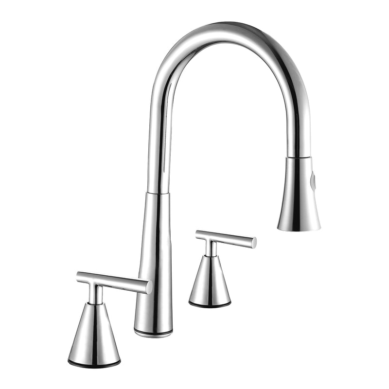 DAX Double Handle Pull Down Kitchen Faucet, Stainless Steel Body, Brushed Finish, Size 8-11/16 x 16-11/16 Inches (DAX-C01302)