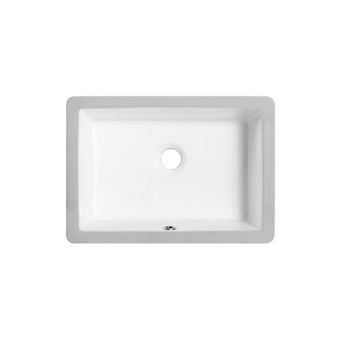 DAX Rectangle Single Bowl Undermount Bathroom Sink, Porcelain, White Finish,  17-3/8 x 12-1/4 x 6-3/8 Inches (BSN-1812)