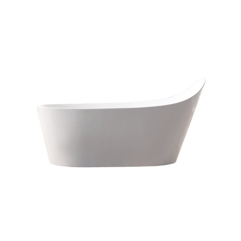 DAX Slipper Freestanding High Gloss Acrylic Bathtub with Central Drain and Overflow, Stainless Steel Frame, 66-15/16 x 35-1/16 Inches (BT-8089)