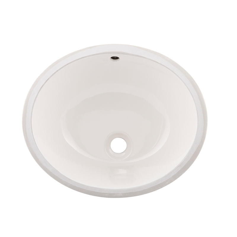 DAX Ceramic Oval Single Bowl Undermount Bathroom Sink, White Finish, 19-1/2 x 8-1/4 x 15-15/16 Inches (BSN-200)